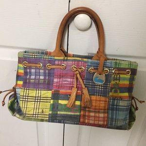 EUC Dooney & Bourke Madras Plaid picnic handbag